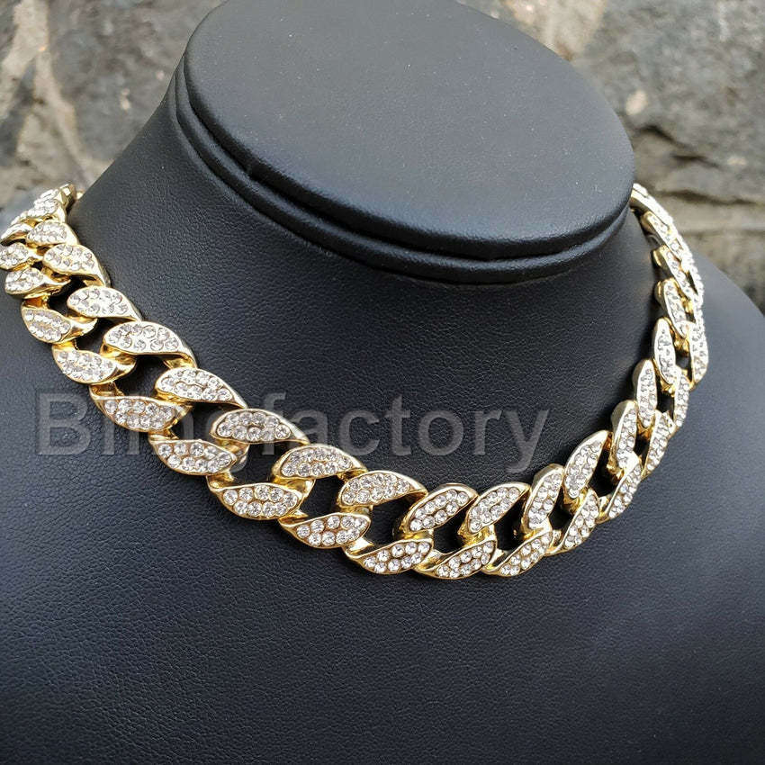 "Hip Hop Bubble Letter ""A"" & 18"" Full Iced Cuban & 1 Row Tennis Choker Chain Necklace Set"