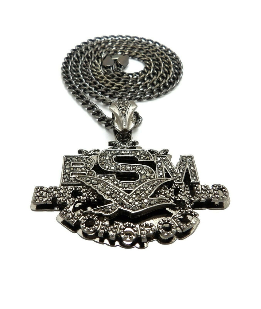 "Iced Out Hip Hop Brick Squad Monopoly BSM Pendant & 5mm 24"" Cuban Chain Necklace"