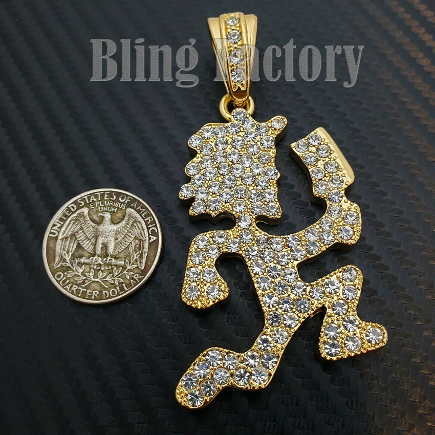 HIP HOP ICED LAB DIAMOND GOLD PLATED LARGE HATCHET MAN RUNNER PENDANT