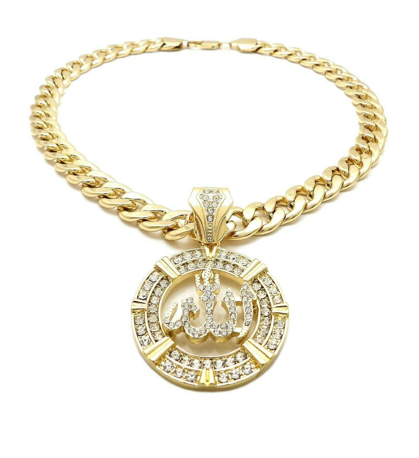 "Hip Hop Iced out Allah Pendant & 11mm 20"" Miami Cuban Choker Chain Necklace"