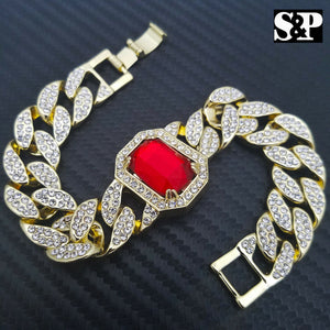 18K Gold PT Red Ruby 15mm 8.5