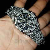 MIGOS ICED OUT WHITE GOLD PLATED LAB DIAMOND WATCH & CULTURE NECKLACE SET