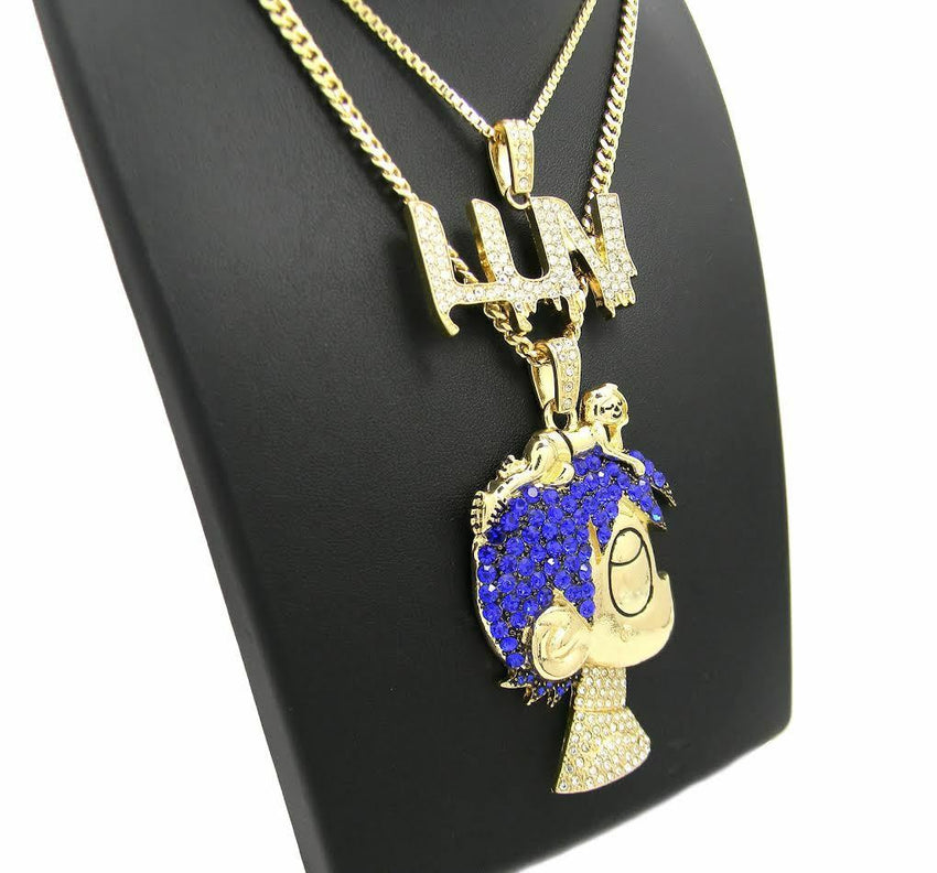 "ICED OUT LIL UZI VERT PAVE CARTOON & LUV PENDANT & 24"" 30"" CHAIN NECKLACE SET"