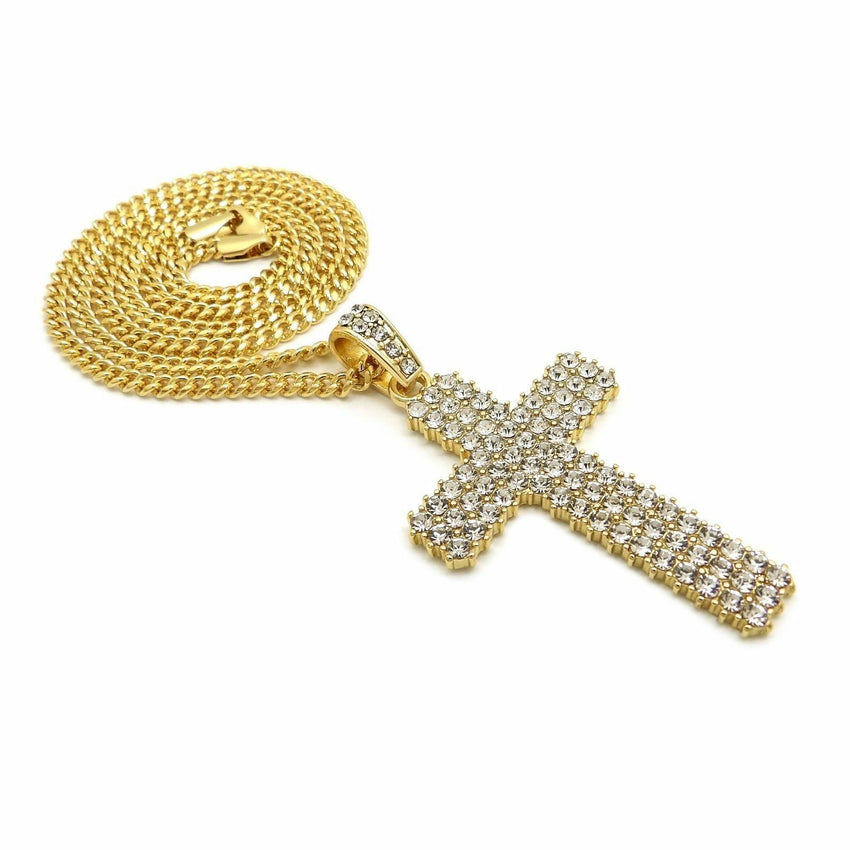 "Hip Hop Full Iced Shiny Cross Pendant & 24"" Box, Cuban, Rope Chain Necklace"