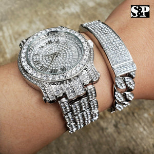 MEN'S HIP HOP WHITE GOLD PT LAB DIAMOND WATCH & FULL ICED BRACELET COMBO SET