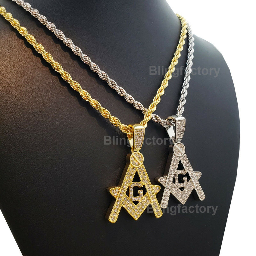 "Hip Hop Iced out Masonic Freemason Pendant & 4mm 24"" Rope Chain Necklace"