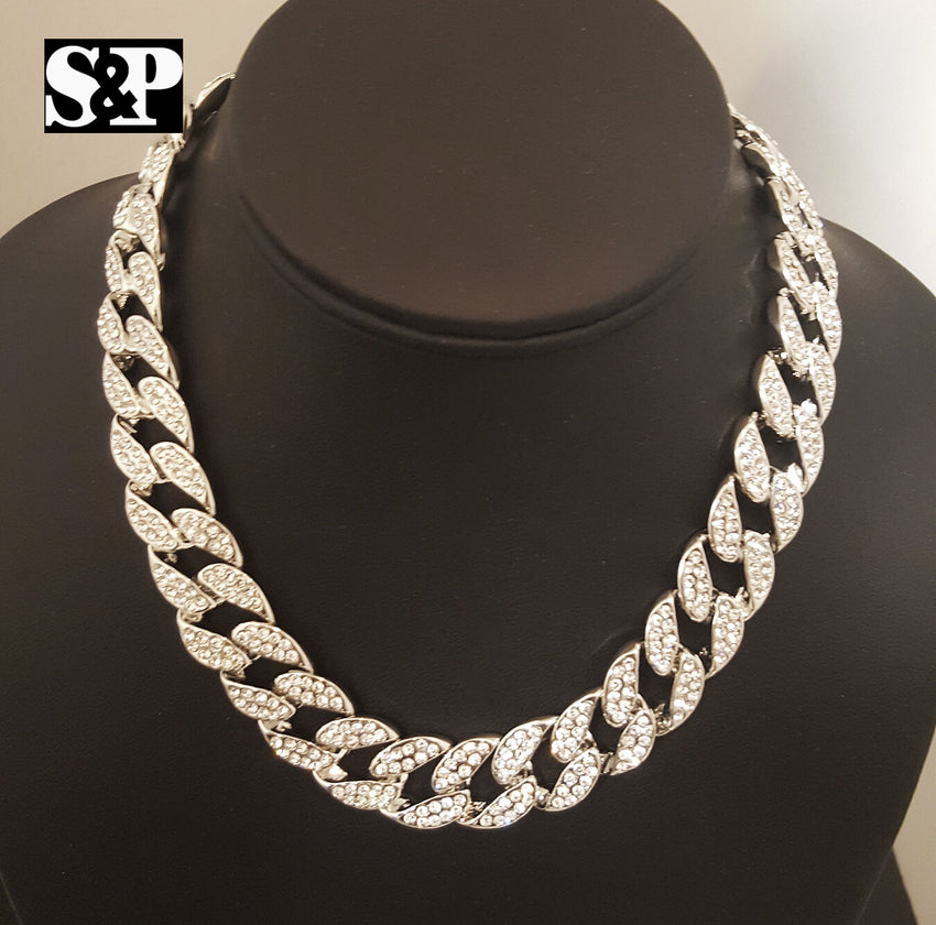 "Hip Hop Quavo Iced Out 15mm 16"" Miami Cuban Choker Chain & Power Plug Necklace"