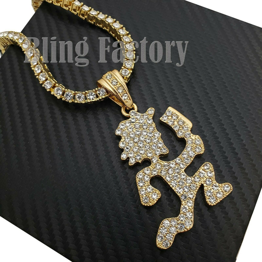 "Hip Hop Iced Hatchet Man Runner Pendant & 18"" 1 Row Tennis Choker Chain Necklace"