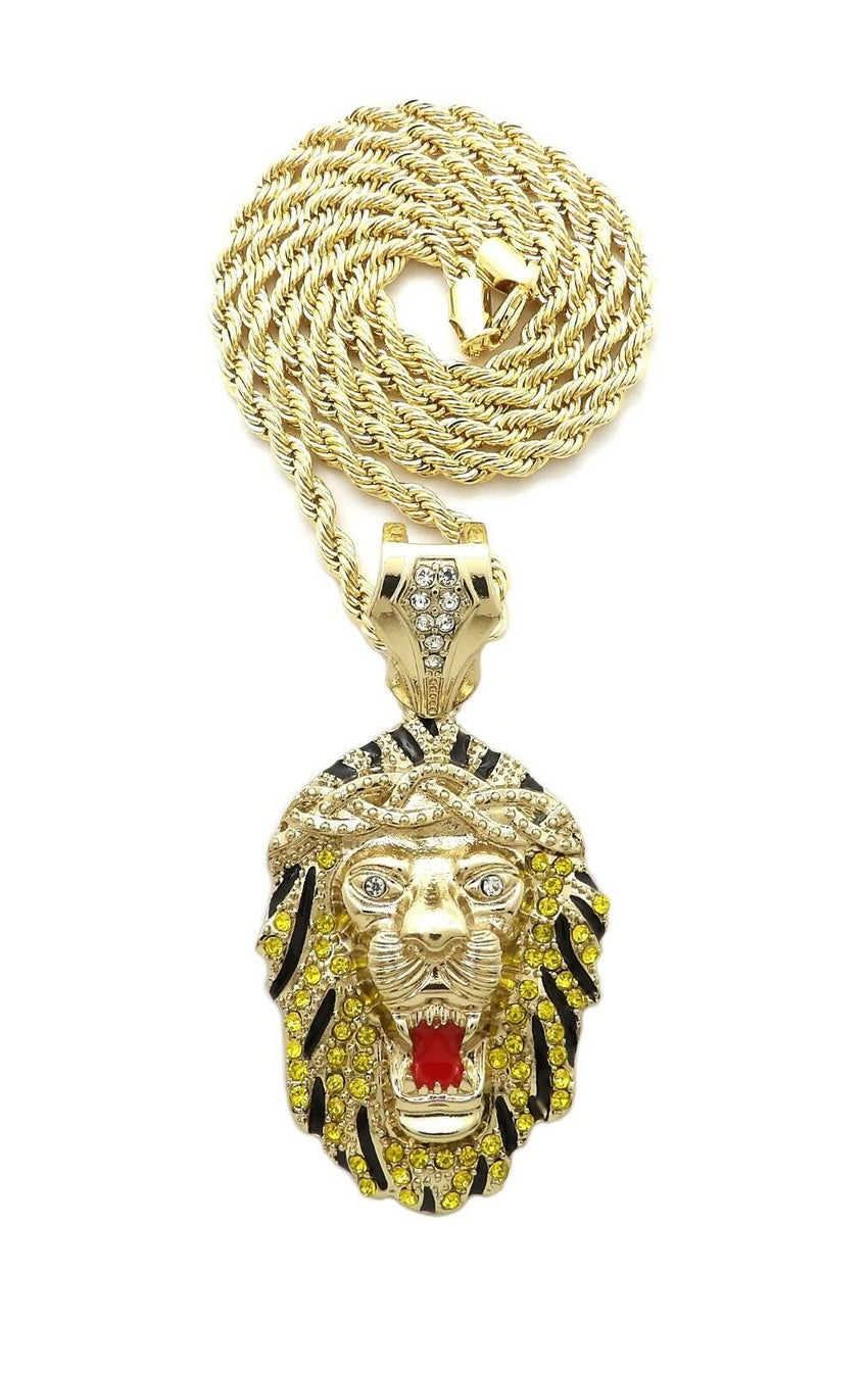 "HIP HOP ICED OUT 14K GOLD PLATED LION HEAD PENDANT & 4mm 24"" ROPE CHAIN NECKLACE"