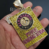 Hip Hop Iced Out Lab Diamonds Gold plated Large Pure Baking Soda Charm Pendant