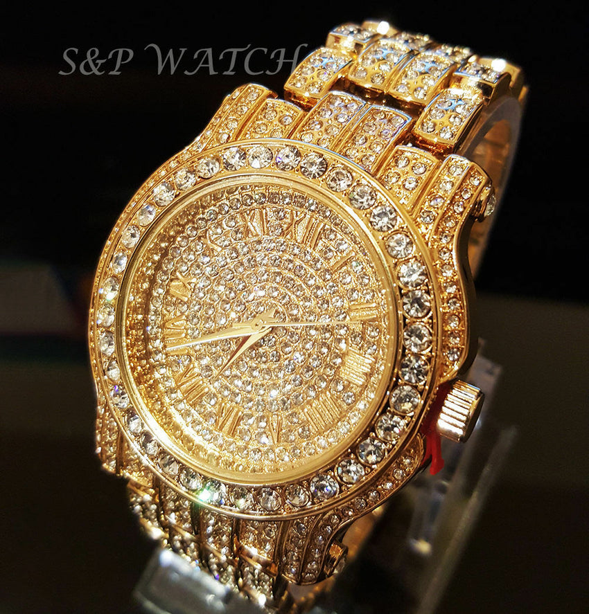 MEN ICED OUT HIP HOP GOLD PT WATCH & JESUS CROSS NECKLACE & BRACELET COMBO SET