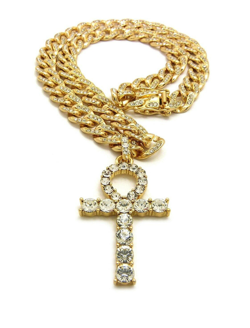"Iced out Ankh Cross Pendant & 18"" 20"" 22"" 24"" CZ Cuban Choker Chain Necklace"