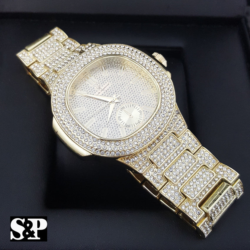 MENS HIP HOP QUAVO GOLD PT LUXURY WATCH & FULL ICED CUBAN BRACELET COMBO SET