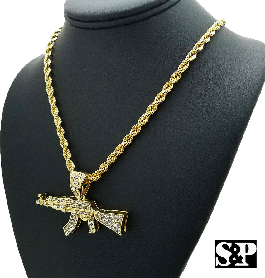 "Hip Hop Iced Out Large AK47 Machine Gun Pendant & 5mm 30"" Rope Chain Necklace"