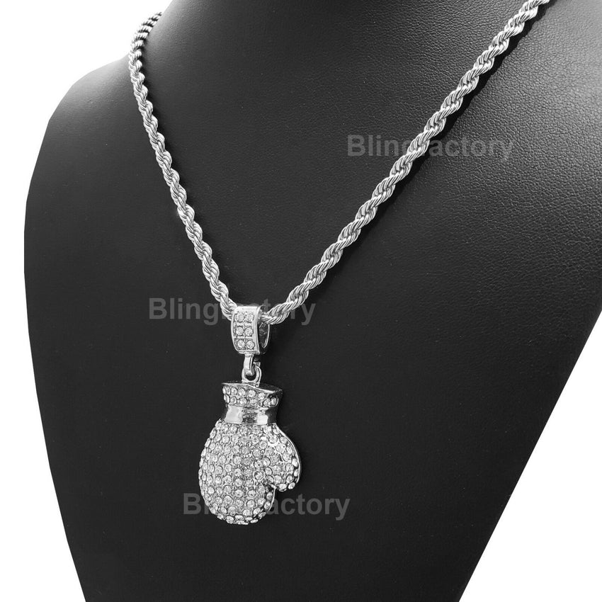 "Hip Hop Iced out Muhammad Ali Boxing Glove Pendant & 4mm 24"" Rope Chain Necklace"