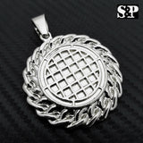HIP HOP ICED OUT LAB DIAMOND SILVER PLATED UNIQUE STYLE JESUS FACE ROUND PENDANT