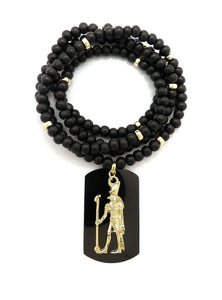 Hip Hop Iced out Egyptian Heru & Dog Tag Pendant w/ 6mm 30