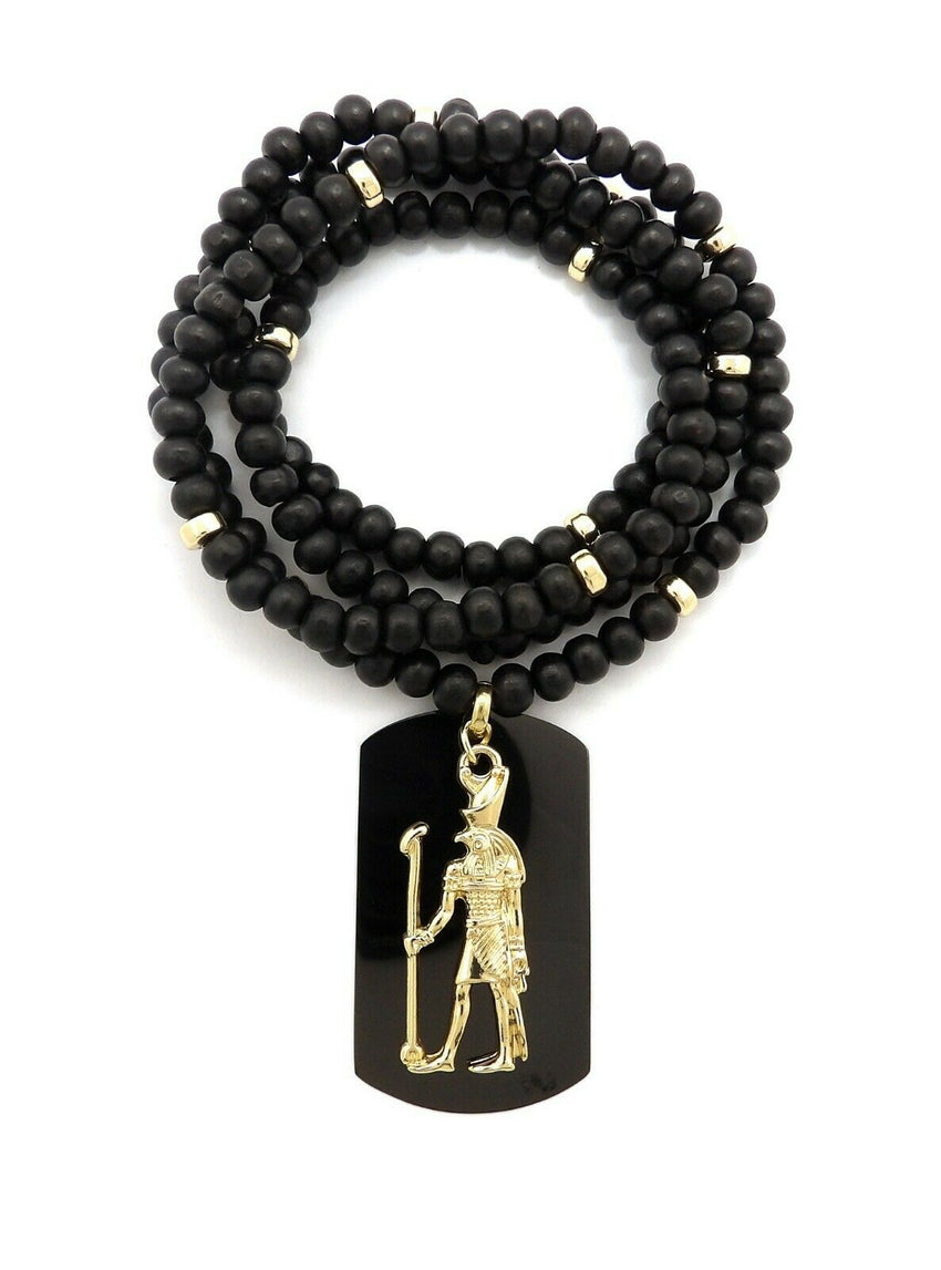 "Hip Hop Iced out Egyptian Heru & Dog Tag Pendant w/ 6mm 30"" Wooden Bead Necklace"