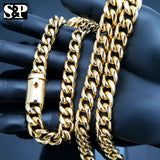 "Men Gold Finish Stainless Steel Special Lock 10mm 24"", 30 Cuban Chain Necklace"