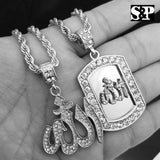 "ICED WHITE GOLD PT ALLAH MUSLIM PENDANT & 24"" ROPE CHAIN 2 NECKLACE SET"