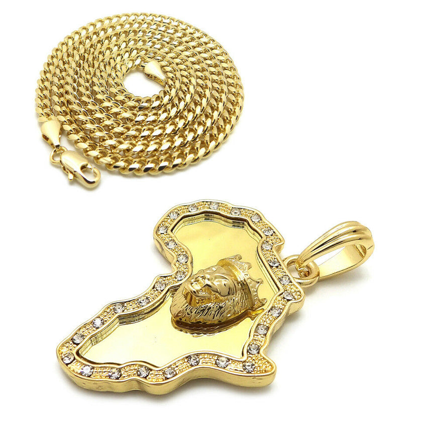 "Iced Out Africa Lion King Pendant & 24"" Box, Cuban, Rope Chain Hip Hop Necklace"