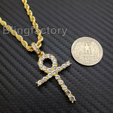 "Hip Hop Iced out Lab Diamond Ankh Cross Pendant & 4mm 24"" Rope Chain Necklace"