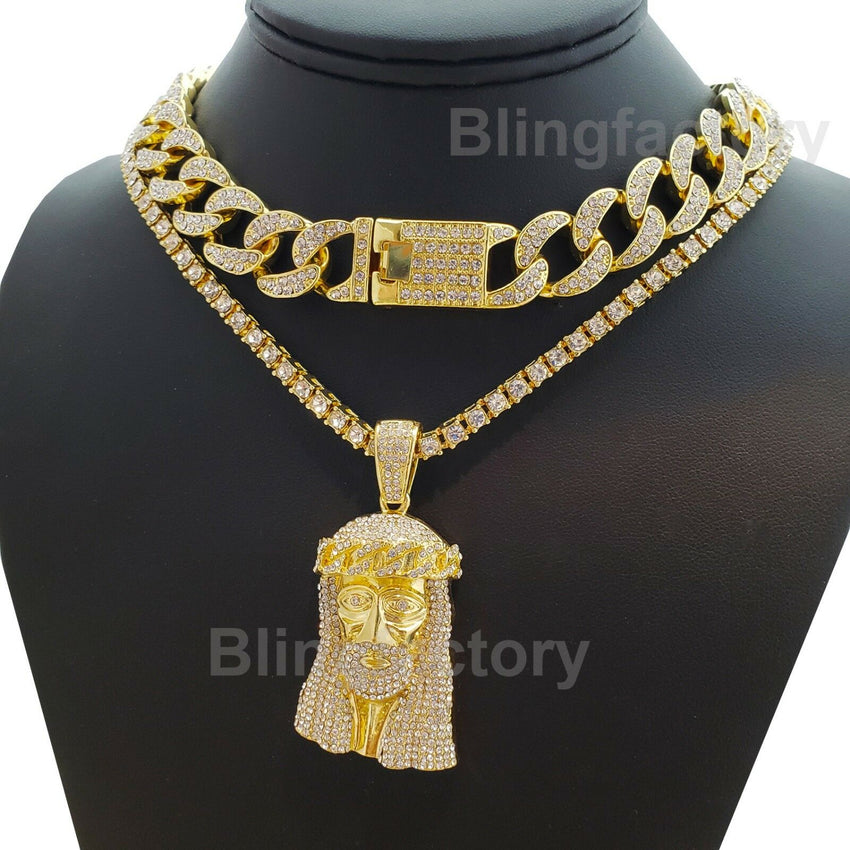 "Hip Hop Jesus Face Pendant & 18"" Full Iced Cuban & 1 Row Tennis Choker Chain Necklace Set"