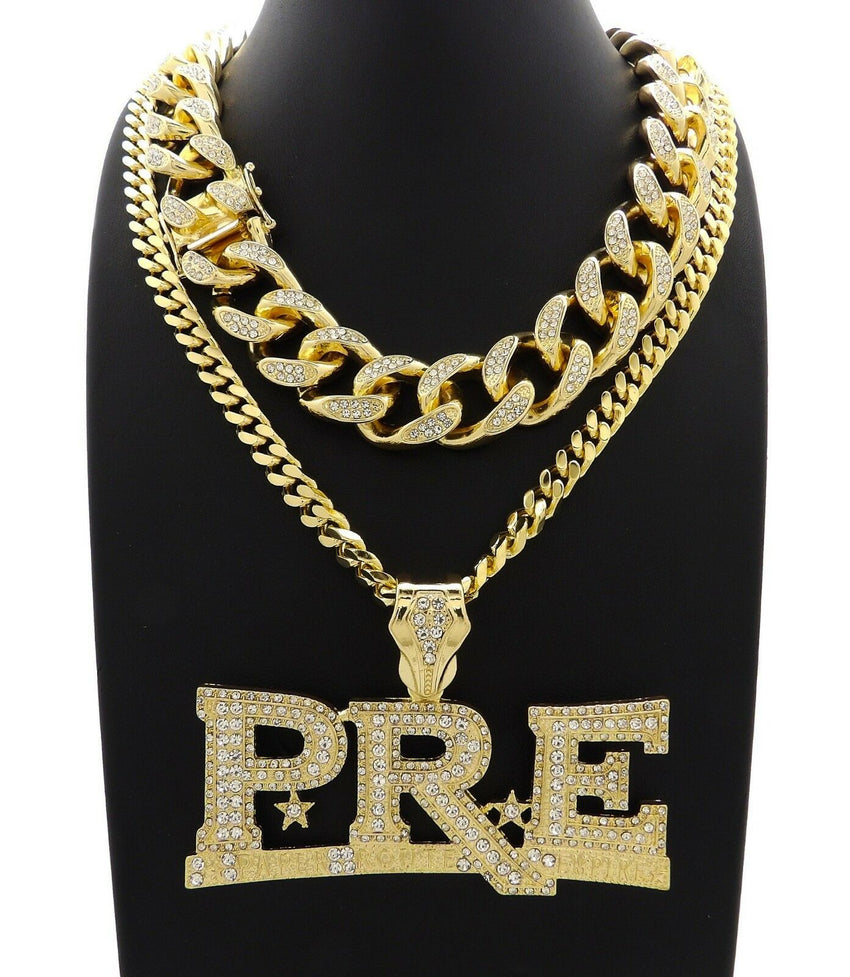 "Hip Hop Iced Young Dolph PRE Necklace & 18"" Full Iced Cuban Choker Chain Necklace Set"