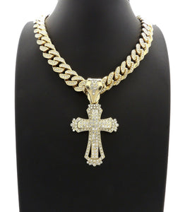 Hip Hop Gold Plated Cross Pendant & 12mm 20