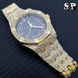 Men's Gold Plated Iced out Luxury Quavo Rapper's Metal Band Dress Clubbing Watch