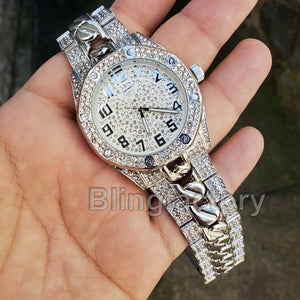 Men Silver Plated Iced out Luxury Migos Rapper's Metal Band Dress Clubbing Watch