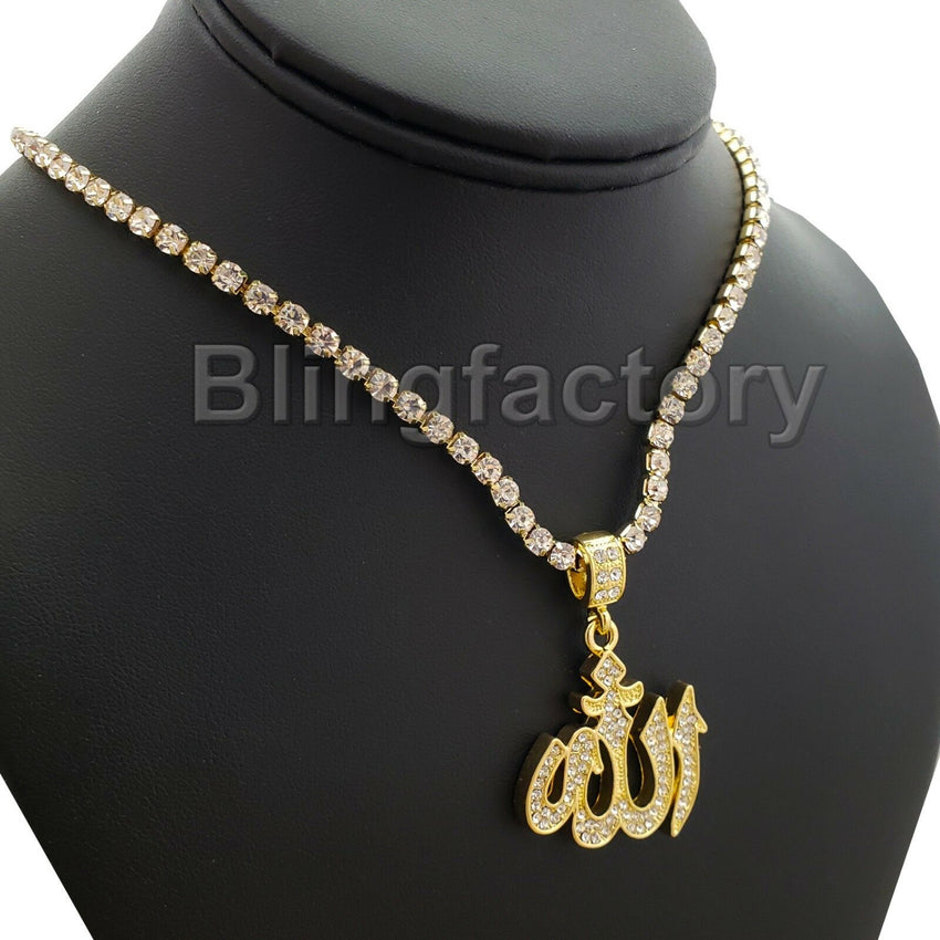 Hip Hop Iced Muslim Allah Pendant & 1 Row Diamond Tennis Choker Chain Necklace