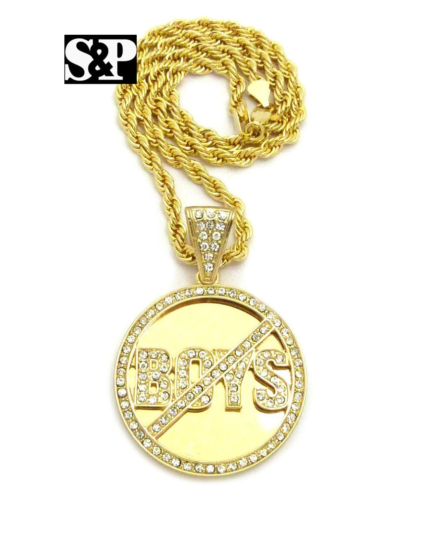 "ICED OUT 'NO BOYS ALLOWED' PENDANT & 5mm 20"" ROPE CHAIN HIP HOP NECKLACE"