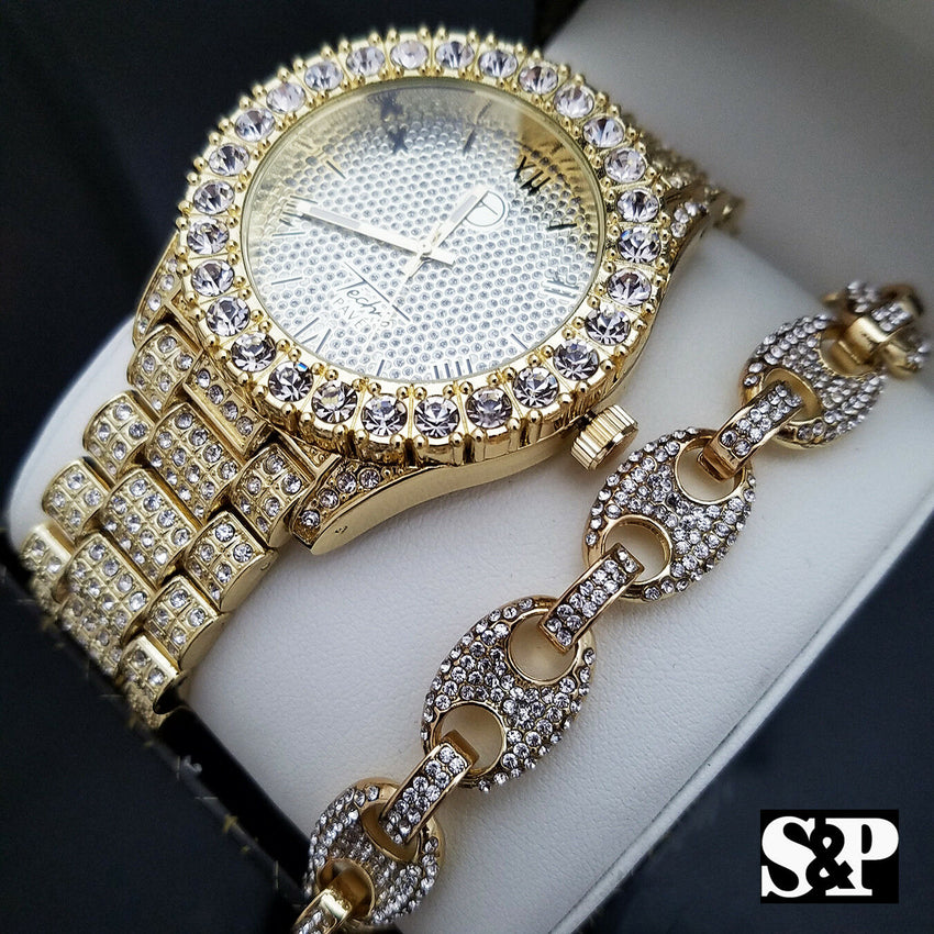 MEN'S ICED OUT HIP HOP GOLD PT WATCH & GUCCI LINK CHAIN BRACELET COMBO SET