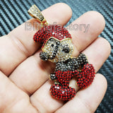 HIP HOP ICED OUT GOLD PT BLING BRASS MICRO PAVE STONES SMURF CHARM PENDANT