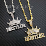"Hip Hop Iced out Lab Diamond Crowned HUSTLER Pendant & 24"" Rope Chain Necklace"