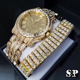 Men's Best Luxury Hip Hop Iced Out Bling Lab Diamond WATCH & BRACELET Gift Set