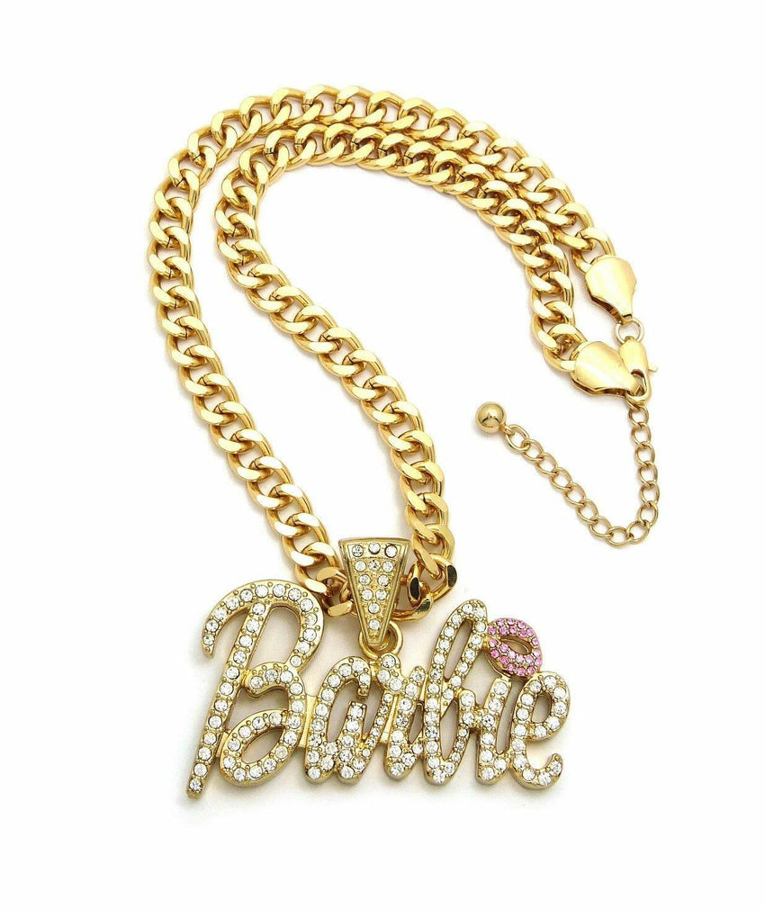 "WOMEN'S ICED BARBIE PENDANT & 8mm 18"" LINK CHAIN FASHION NECKLACE"