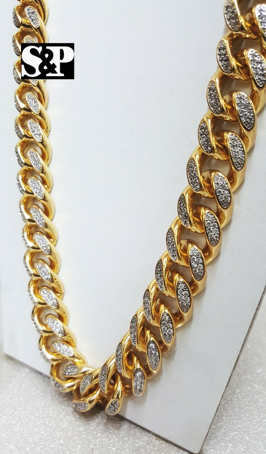 "Hip Hop Rapper Iced Out 17mm 30"" Brass Gold Plated Miami Cuban Chain Necklace"