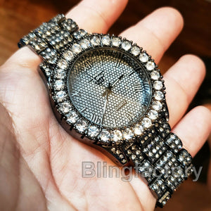 Men's Hip Hop Iced out Rapper Bling BIG Simulated Diamond Black Metal Band Watch