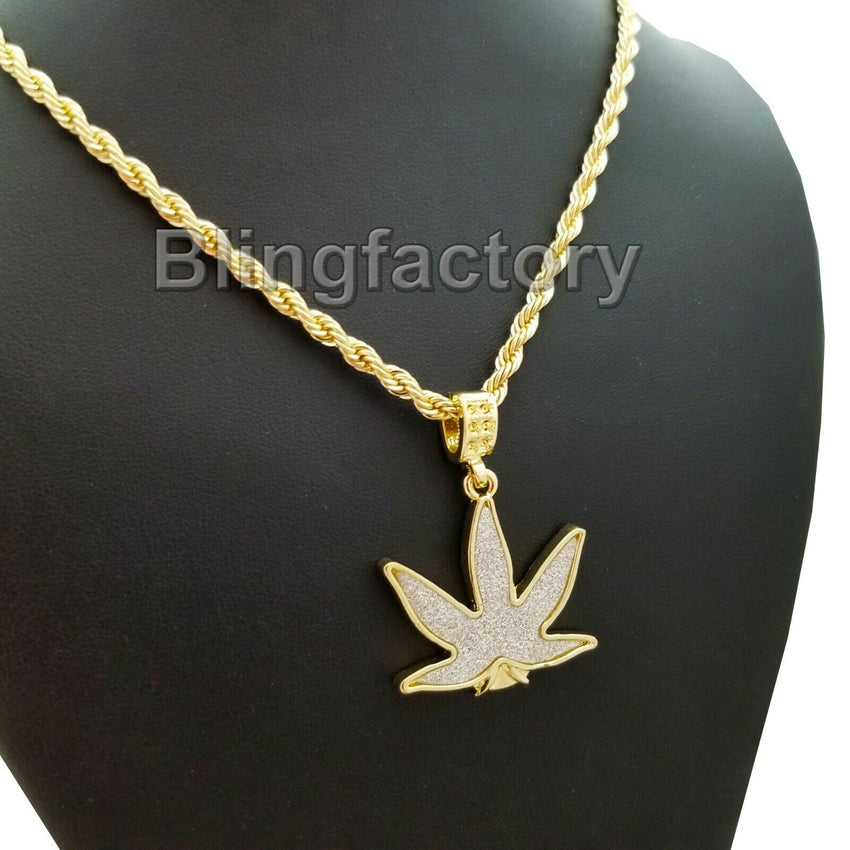 "Hip Hop Iced out Glittered Marijuana Pendant & 4mm 24"" Rope Chain Necklace"