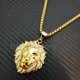"Stainless Steel Gold PT Lion Head Pendant & 3mm 24"" Round Box Chain Necklace"