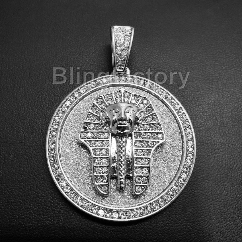 HIP HOP ICED OUT LAB DIAMOND SILVER PLATED EGYPTIAN PHARAOH MEDALLION PENDANT