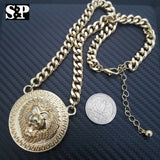 "Hip Hop Gold Plated 16"" Full Iced Cuban & Lion Face pendant Choker Chain Necklace Set"