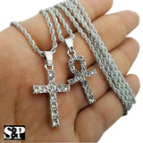 "Hip Hop White Gold PT Ankh Cross & Cross Pendant, 24"" Rope Chain 2 Necklace Set"