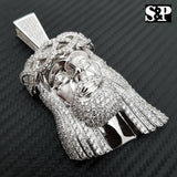 HIP HOP ICED OUT WHITE GOLD PLATED BRASS MICRO PAVE LARGE JESUS HEAD PENDANT