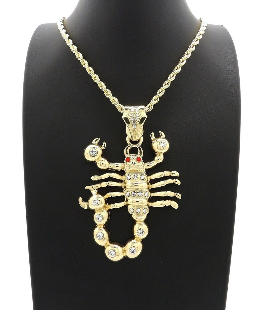 "HIP HOP ICED OUT 14K GOLD PLATED SCORPION PENDANT & 4mm 24"" ROPE CHAIN NECKLACE"