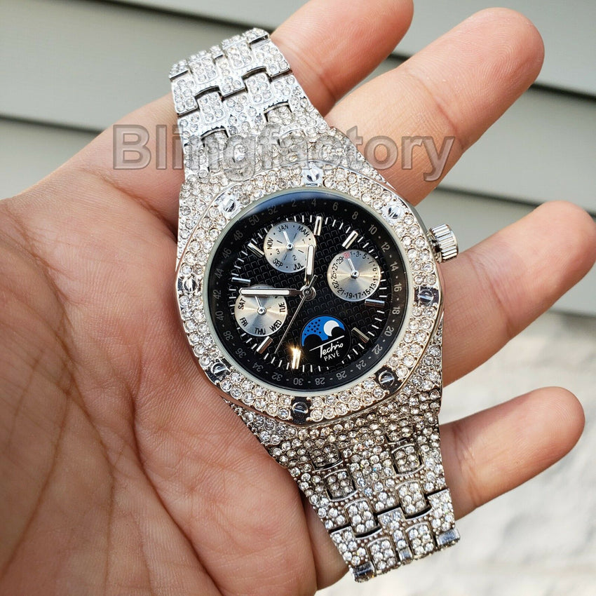 Men's White Gold plated Iced out Luxury MIGOS Rapper's Metal Band Clubbing Watch