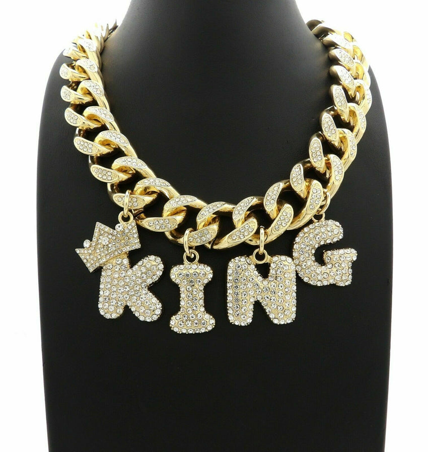 "ICED BUBBLE LETTERS KING PENDANTS & 20"" BOX LOCK MIAMI CUBAN CHOKER CHAIN NECKLACE"