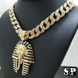 "Hip Hop Quavo Pharaoh Pendant & 15mm 16"" Iced Out Cuban Choker Chain Necklace"